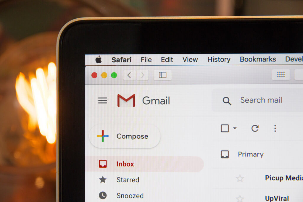 gmail on laptop screen