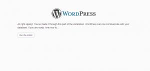 WordPress Website Development Click on the Run the Install Button