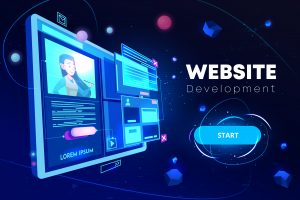 WordPress website development banner, computer technology, monitor with open browser page and woman profile on screen, futuristic background in neon glowing colors