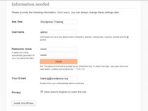 WordPress Website Development Click on the Install WordPress Button