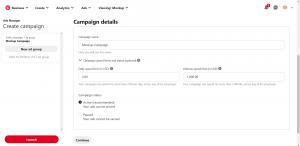 Create Pinterest Ads Setup Campaign Details