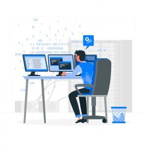 Full Stack Developer Coding Computers laptop blue