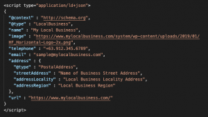 Commonly Used Schema Markups in Marketing Local Business Schema Code Snippet