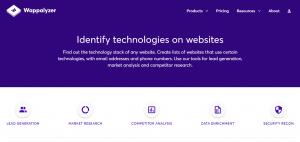 Google Chrome Extension Wappalyzer