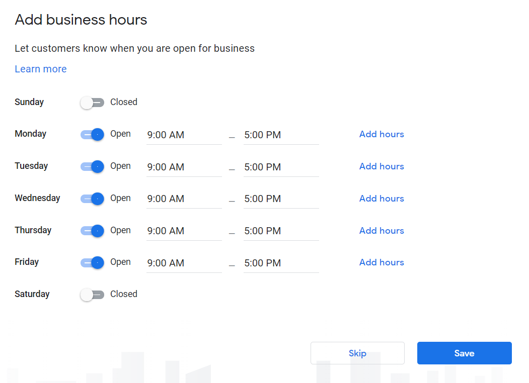 How to Set Up Your Google My Business Account 13 Add Business Hours