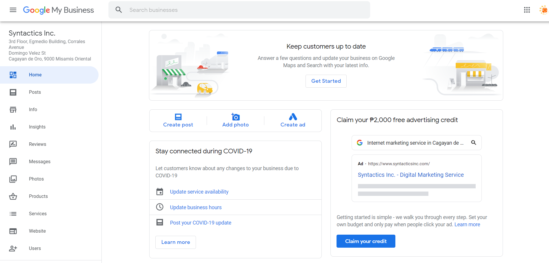 How to Set Up Your Google My Business Account 19 Home Tab Preview