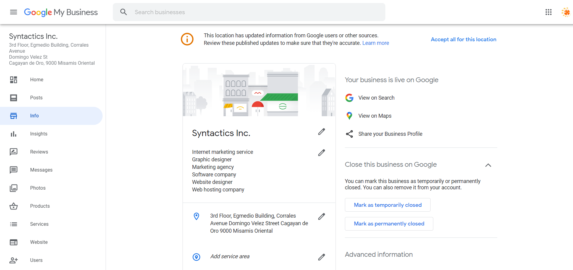 How to Set Up Your Google My Business Account 21 Info Tab Preview