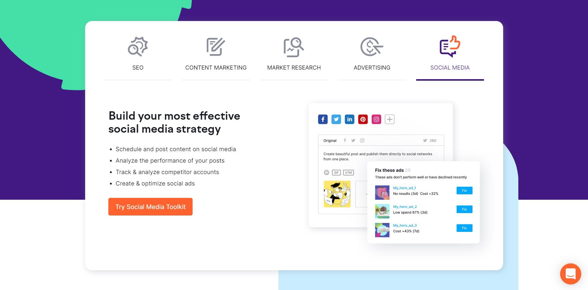 Social Media Management Tools for Various Platforms SEMrush 2