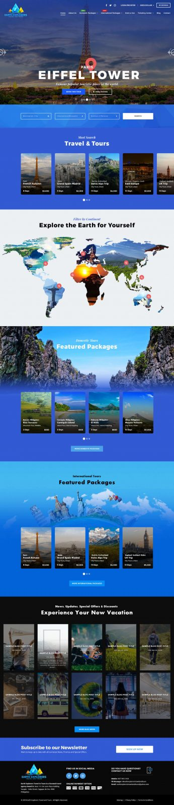 Syntactics Recent Project - Earth Explorers – Travel and Tours 1. Home