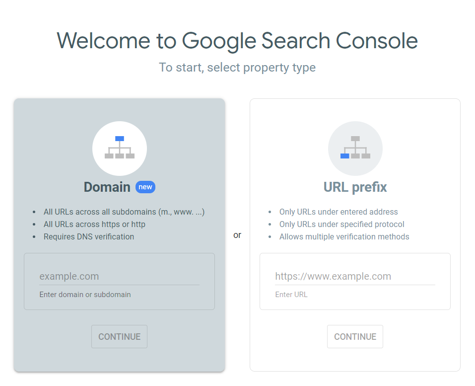 How to Improve SEO Using Google Search Console Search Console Select Property Type