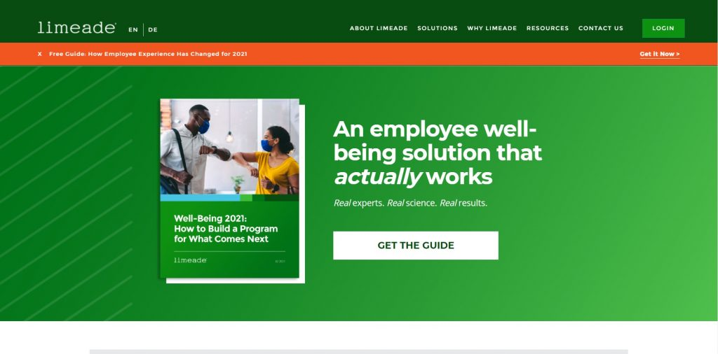 Limeade homepage. An employee well-being solution that actually works.