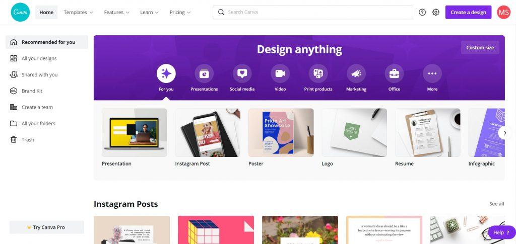 Create With Canva Canva Dashboard Sample