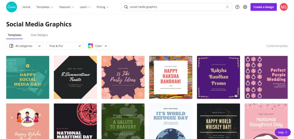 Social Media Graphics Search Results
