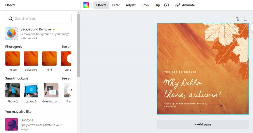 Create With Canva Effects Toolbar