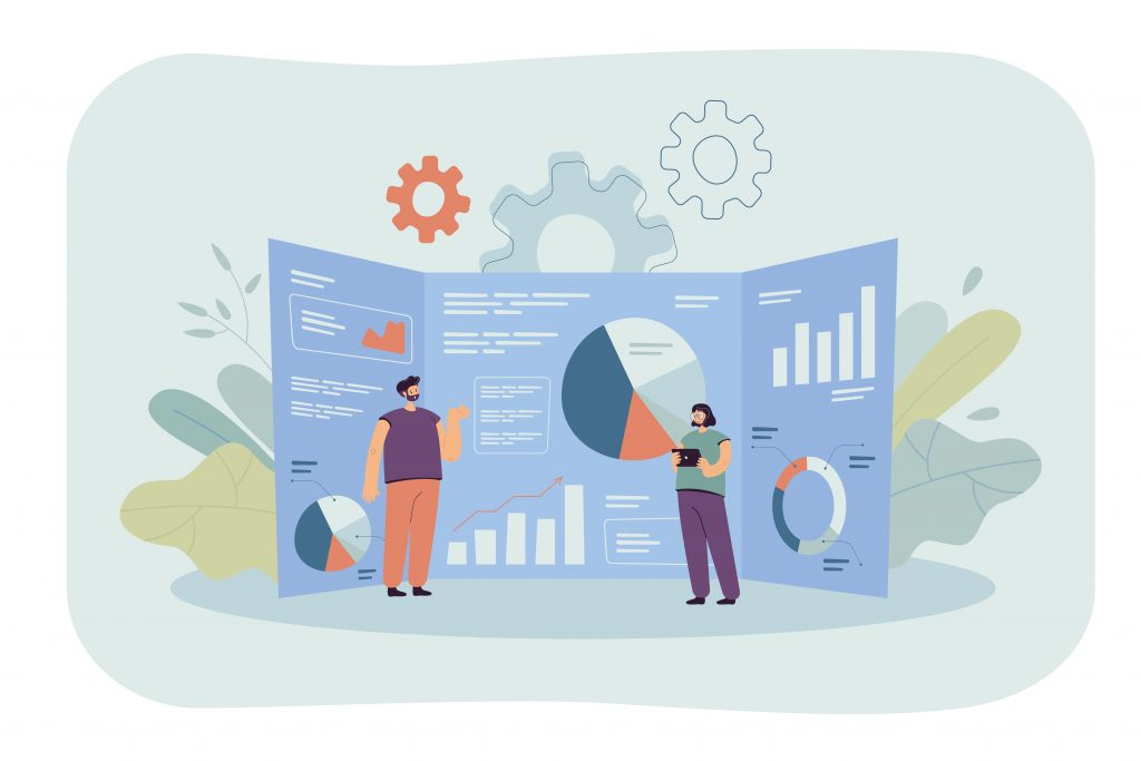 Vital Google Analytics Features for Improved Campaigns Marketing Experts Analyzing Tables and Graphs