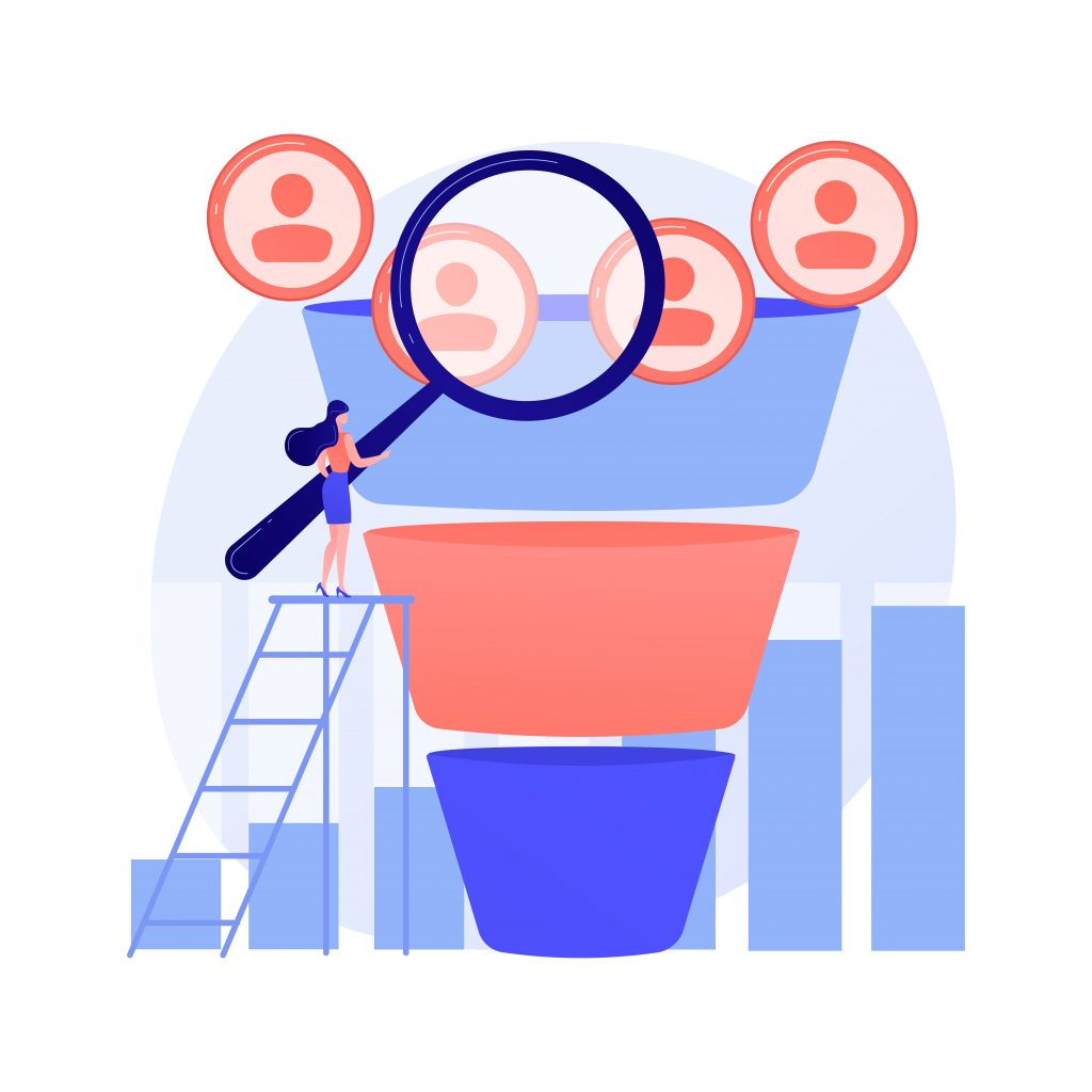 Marketing Funnel Abstract Concept Vector Illustration.
