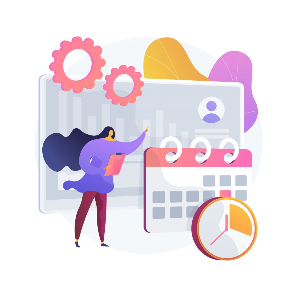 Time And Attendance Tracking System Abstract Concept Vector Illustration.