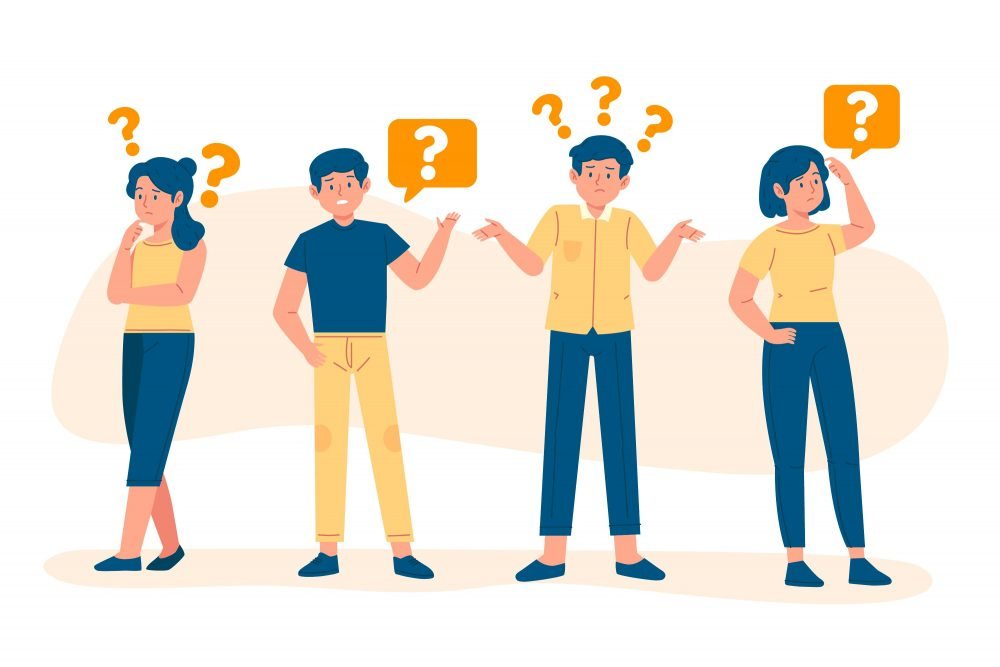 Questions Businesses Ask Before Hiring A Software Company Four People With A Lot Of Questions