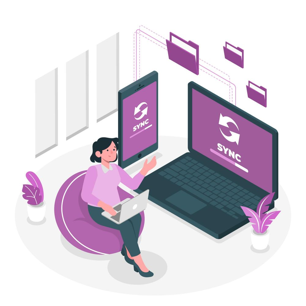 The Benefits Of Secure File Sharing And How To Do It Woman Sync Files Across Multiple Devices